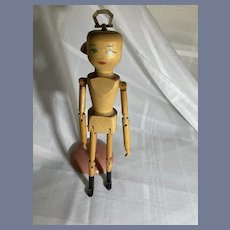 Wonderful Wood Carved Doll Jointed Artist Wood Pegged Bob & Lenore Current Signed Dated