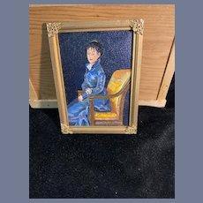 Vintage Doll Artist Miniature Painting Dollhouse Goya's Painting Dona Teresa  Sureda Signed Helen ? Portrait