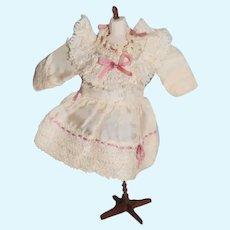 Vintage Petite Doll Dress French Market Sweet Drop Waist Lace Threaded Ribbon Petite