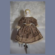 Antique Doll Miniature China Head Fancy Hair Style Dollhouse Fab Clothing Sausage Curls