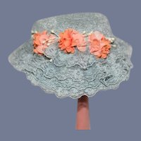 Wonderful Vintage Doll Lace Bonnet W/ Flowers Janice Custom Milliner