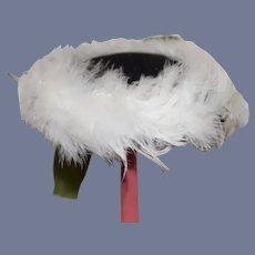 Vintage Doll Bonnet Feather Trimmed Fancy Bow Doll Hat