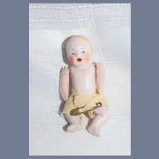 Antique Doll Pink Tint All Bisque Baby Open Mouth Jointed Dollhouse
