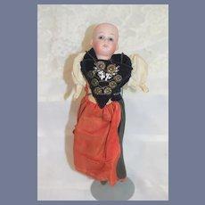 Antique Doll Miniature Bisque Head Petite Doll Original Costume Glass Eyes DEP 201