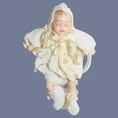 Vintage Doll Miniature Sweet Doll Baby Dollhouse Dress Fancy Character Doll Artist Newborn
