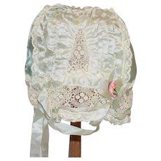 Wonderful Antique Lace Silk Bonnet For Big Doll Gorgeous Large Doll