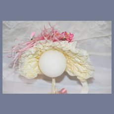 Vintage Fancy Wire Framed French Market Doll Bonnet Hat