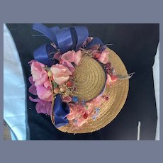 Vintage Doll Straw Bonnet Hat Artist Made Tilted Top FLowers Ribbon