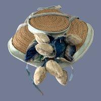Old Straw Doll Bonnet W/ Flpwers and Ribbon Charming Wide Brim