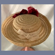 Sweet Doll Vintage Straw Bonnet W/ Flowers & Bow