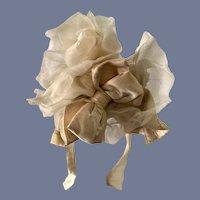 Vintage Fancy Doll Bonnet Hat Satin Bow W/ Chiffon and Netting