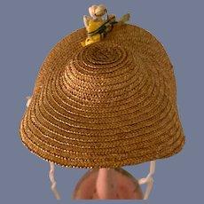 Sweet Vintage Straw Doll Bonnet Hat W/ Flowers Wide Brim