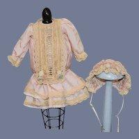 Vintage Doll Dress W/ Matching Bonnet Lace French Market