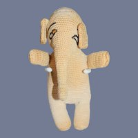 Old Crochet Stuffed Elephant Toy Vintage Adorable For Doll