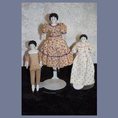 Wonderful Doll Sisters China Head Set Three Miniature Petite Dollhouse