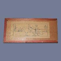 Old Wood Petite Miniature Victorian Doll or Child Unused Painting Set in Original Box