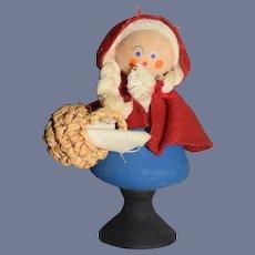 Vintage Little Red Riding Hood Wood Doll Dollhouse Miniature