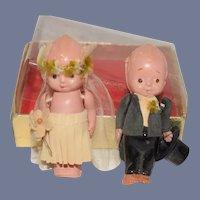 Old Celluloid Kewpie Bride and Groom in Box Set Sweet