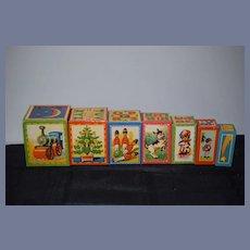 Old Litho Vintage Wood Stackable Blocks Toy Doll Display
