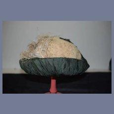 Wonderful Doll Bonnet Hat Feathers Netting French Market