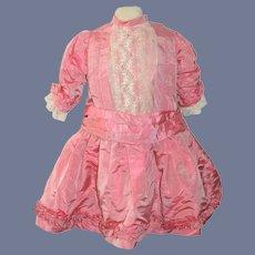 Old Sweet Doll Dress Lace Drop Waist Pink Gorgeous Ruffle Trim