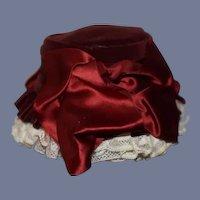 Wonderful Vintage Doll Bonnet Hat Velvet W/ Fancy Satin Bows Lace