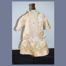 Old Wonderful Doll Dress French Market Cord Trim Lace Silk Drop Waist
