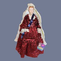 Vintage Doll Queen Victoria Evelt W/ Tags  Porcelain Original Costume Clothing