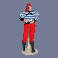 Vintage Long John Silver Sculpted Pirate Captain Doll W/ Peg Leg