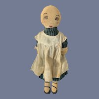 Old Cloth Doll W/ Clothing Sewn on Features Sweet