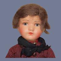Old All Original Papier Mache Doll W/ Original Clothing