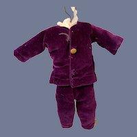 Sweet Vintage Velvet Suit W/ Brass Buttons Boy Doll Jacket Pants Set