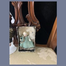 Antique Miniature Frozen Charlotte China Head Doll Dressed Dollhouse