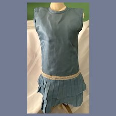 Vintage Sweet and Simple French Market Doll Dress Drop Waist Pleats
