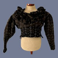 Wonderful Old Fancy Fashion Doll Top Unusual Blouse Ruffles