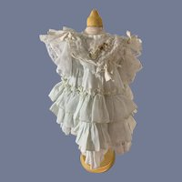 Old Wonderful Doll Dress Ruffles Lace French Market Charming Flowers