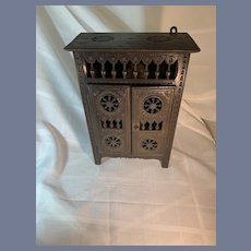 Antique French Miniature Petite  Doll Miniature Ornate Cabinet Fashion Doll Brittany Wood W/ Shelves