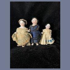 Antique Doll Set Three China Heads Frozen Charlotte EARLY Wonderful Miniature Dressed Dollhouse