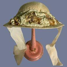 Sweet Doll Bonnet W/ Flowers Covered Straw Hat High Brim