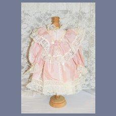 Vintage Doll Dress Lace Trim High Collar Hand made Silk