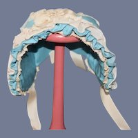 Vintage Doll Bonnet Lace Trim Bow Fancy French Market
