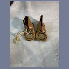 Antique Doll Shoes Leather W/ Pom Pom's