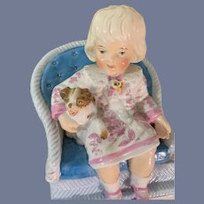 Antique Doll Bisque Girl W/ Dog On Chair Porcelain Trinket Box Piano Baby