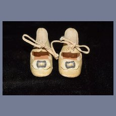 Antique Doll Leather Shoe W/ Buckles Sweet
