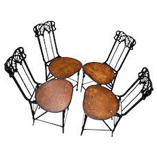 """Set of 4 French Art Nouveau Wrought Iron Folding Chairs 32"""" tall"""