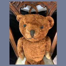 Old Brown Teddy Bear Glass Eyes Charming Jointed
