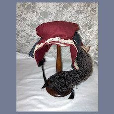 Vintage Large Doll Bonnet W/ Lace and Feathers Wide Bonnet
