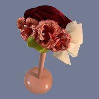 Vintage Sweet Velvet W/ Flowers Doll Bonnet Fashion Doll