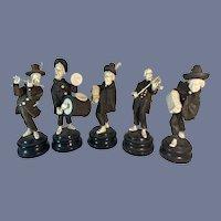 Wonderful Carved Wood Doll Figures w/ Instruments Wonderful Detail