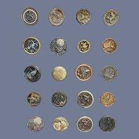 Wonderful Old Buttons on Card Figural Oriental Cherub Art Nouveau All Different